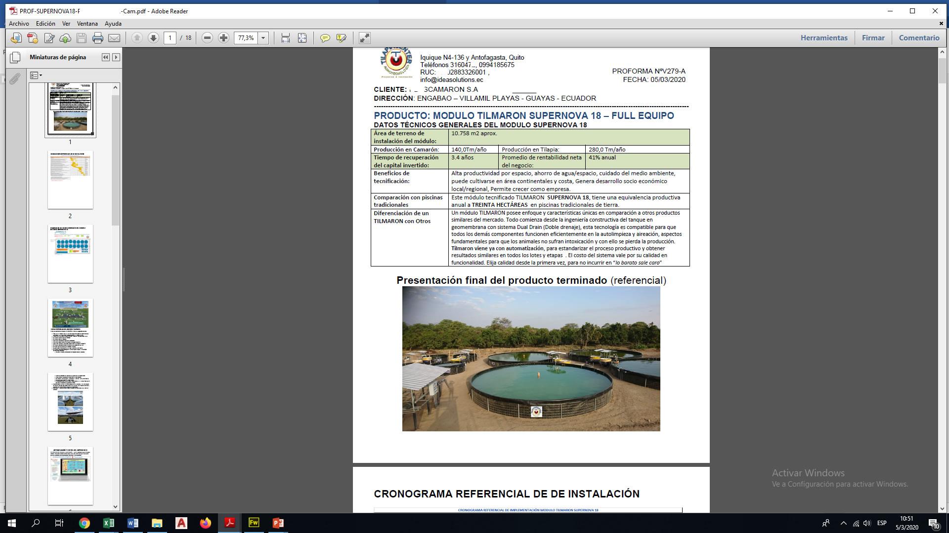 Plan de Negocio de Camarón y Tilapia Tilmaron para financiamiento
