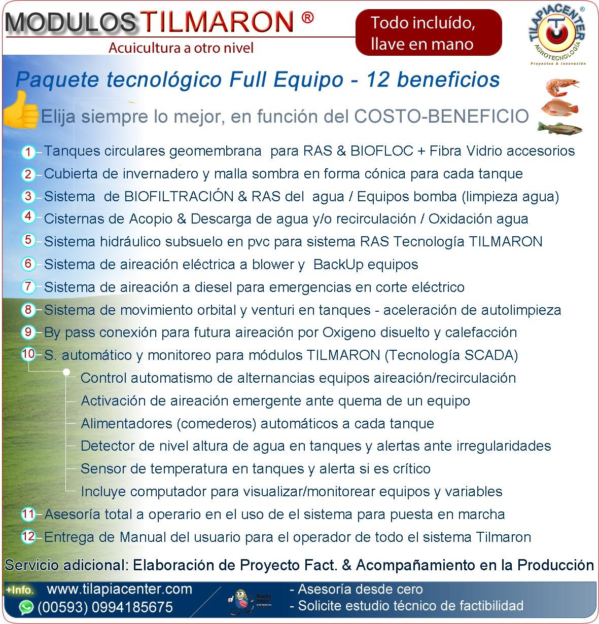 Lista de componentes de modulos RAS de acuicultura tecnificada